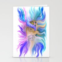 Woman Butterfly and Horse Stationery Cards