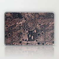 Boho rose gold dreamcatcher floral navy blue Laptop & iPad Skin