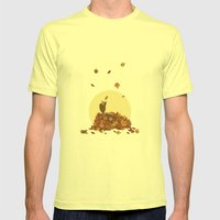 Autumn Hedgehogs Mens Fitted Tee Lemon SMALL