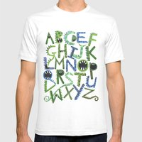 Monster Alphabet. Mens Fitted Tee White SMALL