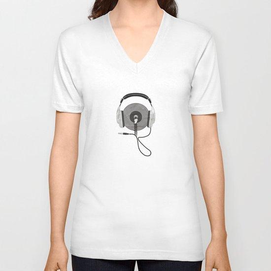 vinyl afro V-neck T-shirt