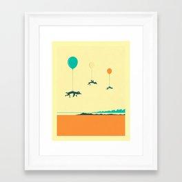 Framed Art Print - FLOCK OF PENGUINS - Jazzberry Blue