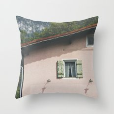 Pink Alpine House Throw Pillow