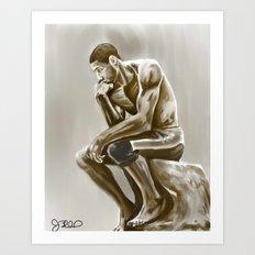 Tim Duncan, the thinker Art Print