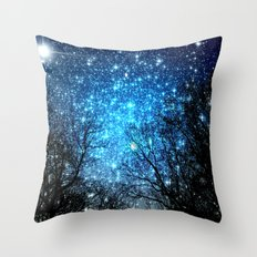 Black Trees Blue SPACE Throw Pillow