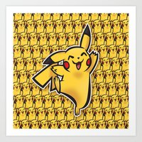 Pika chu Pocket Monsters Poke mon art Design Cute Pattern Art Print