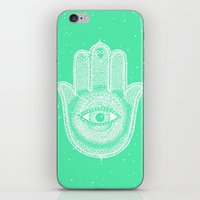 Hamsa lucky green iPhone & iPod Skin