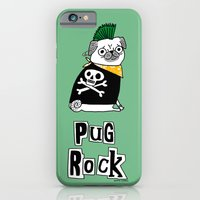 iPhone Cases featuring Pug Rock by gemma correll