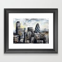 Rainy London Skyline  Framed Art Print