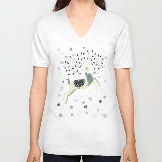 Prancing Reindeer V-neck T-shirt