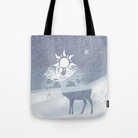 a deer with nine horns is bringing back the sun~ illustration  Tote Bag