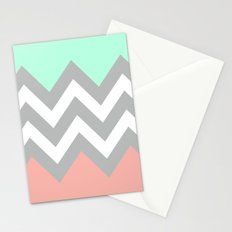 DOUBLE COLORBLOCK CHEVRON {MINT/CORAL/GRAY} Stationery Cards