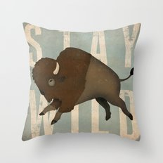 Buffalo Bison Stay Wild Throw Pillow