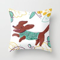 Happy Fall, Dogs! (Ginge… Throw Pillow