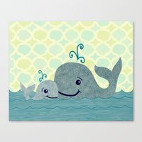 Canvas Print featuring Whale Mom and Baby by Elephant Trunk Studio