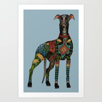 greyhound azure blue Art Print