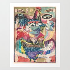 psychedelic chicken farmer Art Print