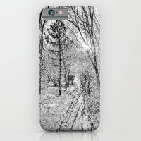 iPhone & iPod Case featuring The Forest Path Snow by David Pyatt