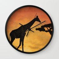 Giraffe At The Sunset. Wall Clock