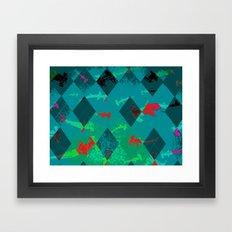 Argyle Frenzy in Larimar Framed Art Print