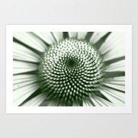 Black and White Flower Core Art Print