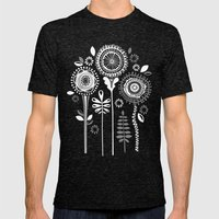 Folksy Flowerheads Rever… Mens Fitted Tee Tri-Black SMALL