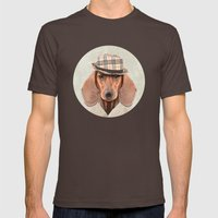 The stylish Mr Dachshund Mens Fitted Tee Brown SMALL