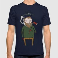 No Worries Woodsman Mens Fitted Tee Navy SMALL