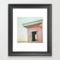 Little Pink Beach House Framed Art Print