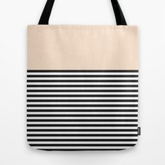 STRIPE COLORBLOCK {CREAM} Tote Bag