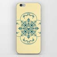 Decorative Pattern in Creme and Blue iPhone & iPod Skin
