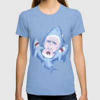 Nic Cage Is Sharks! Womens Fitted Tee Tri-Blue SMALL