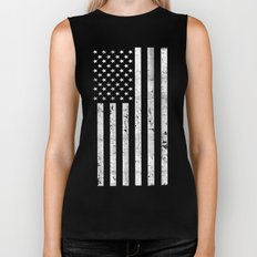 Dirty Vintage Black and White American Flag Biker Tank