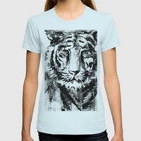 White tiger Womens Fitted Tee Light Blue SMALL