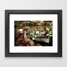 Man and his boat - Villefranche Framed Art Print