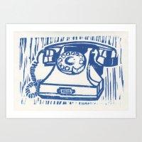 Rotary Phone Lino Art Print
