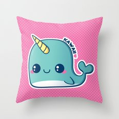 Kawaii Blue Narwhal Throw Pillow