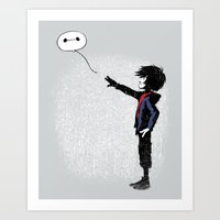 Boy with Robot Art Print