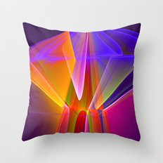Neon merry-go-round, colourful fractal abstract Throw Pillow