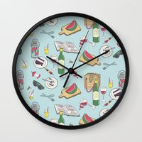 messy picnic Wall Clock