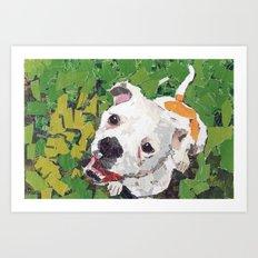 Happy The American Bulldog Art Print