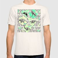 90's Dinosaur Skeleton Neon Pattern Mens Fitted Tee Natural SMALL