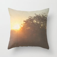 Retro Sunrise Throw Pillow