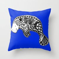 Blue Manatee Throw Pillow