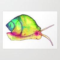 Watercolor Snail Art Print