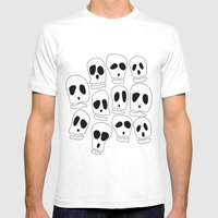 Skulls-1 Mens Fitted Tee White SMALL