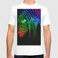 Rainbow Zebra Mens Fitted Tee White SMALL