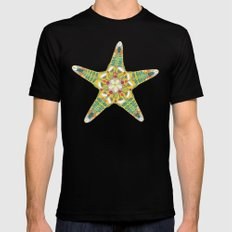 starfish flowers blue Black Mens Fitted Tee SMALL