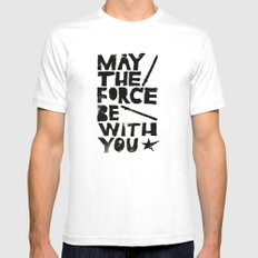 May the Force be with You - Linocut Star Wars Movie Poster White SMALL Mens Fitted Tee