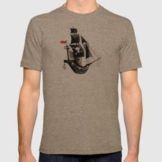 Pirate Ship Mens Fitted Tee Tri-Coffee SMALL